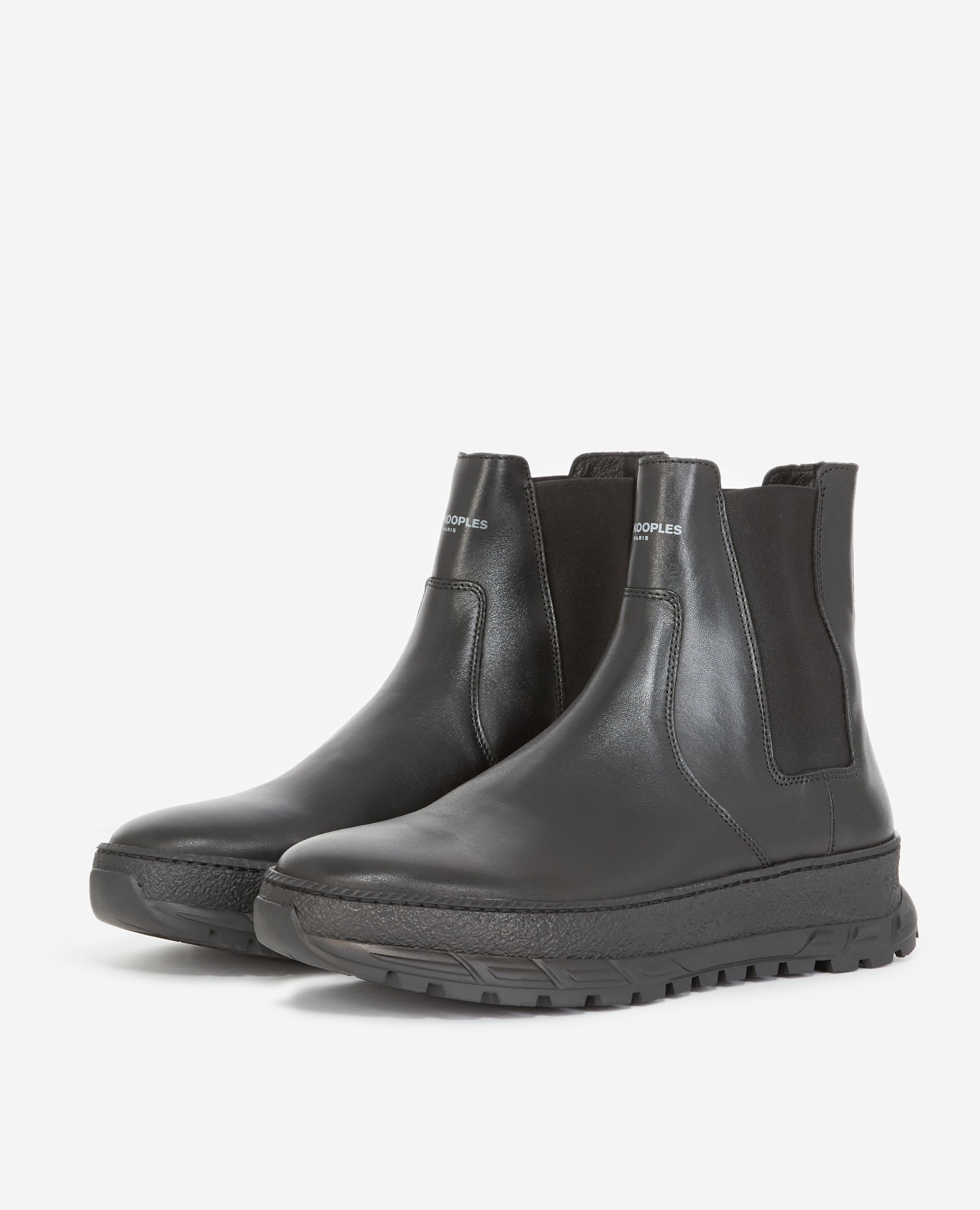 Boots Chelsea noires cuir lisse - The Kooples - Modalova