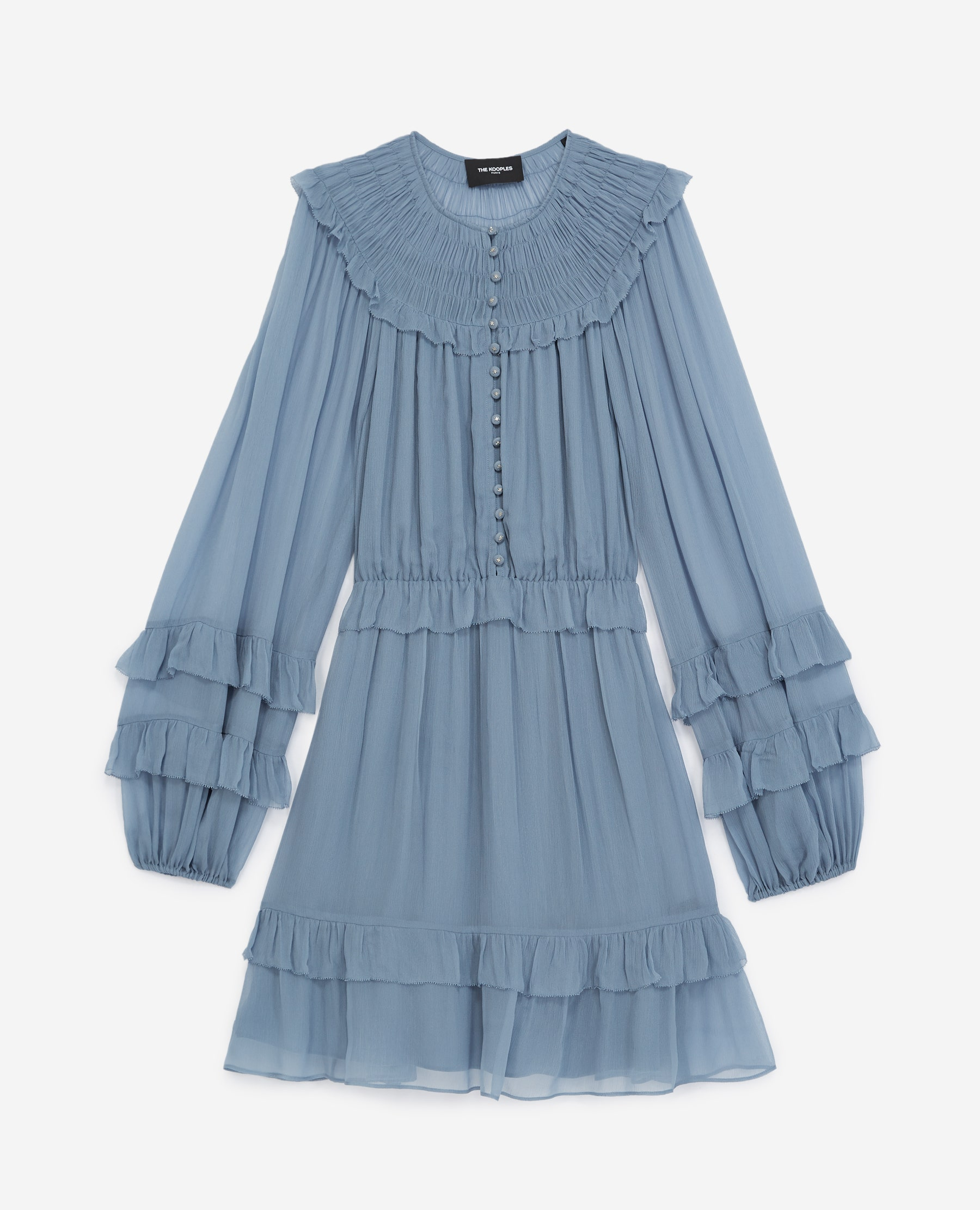 Robe courte bleu ciel à volants fluide - The Kooples - Modalova