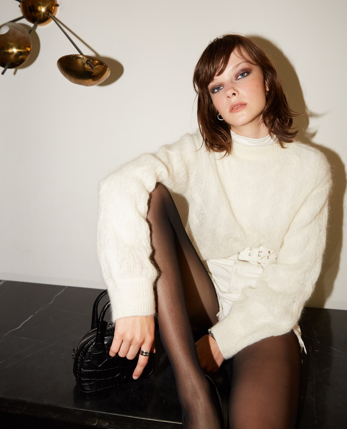 The Kooples - Short formal beige sweater with round collar - MUJER