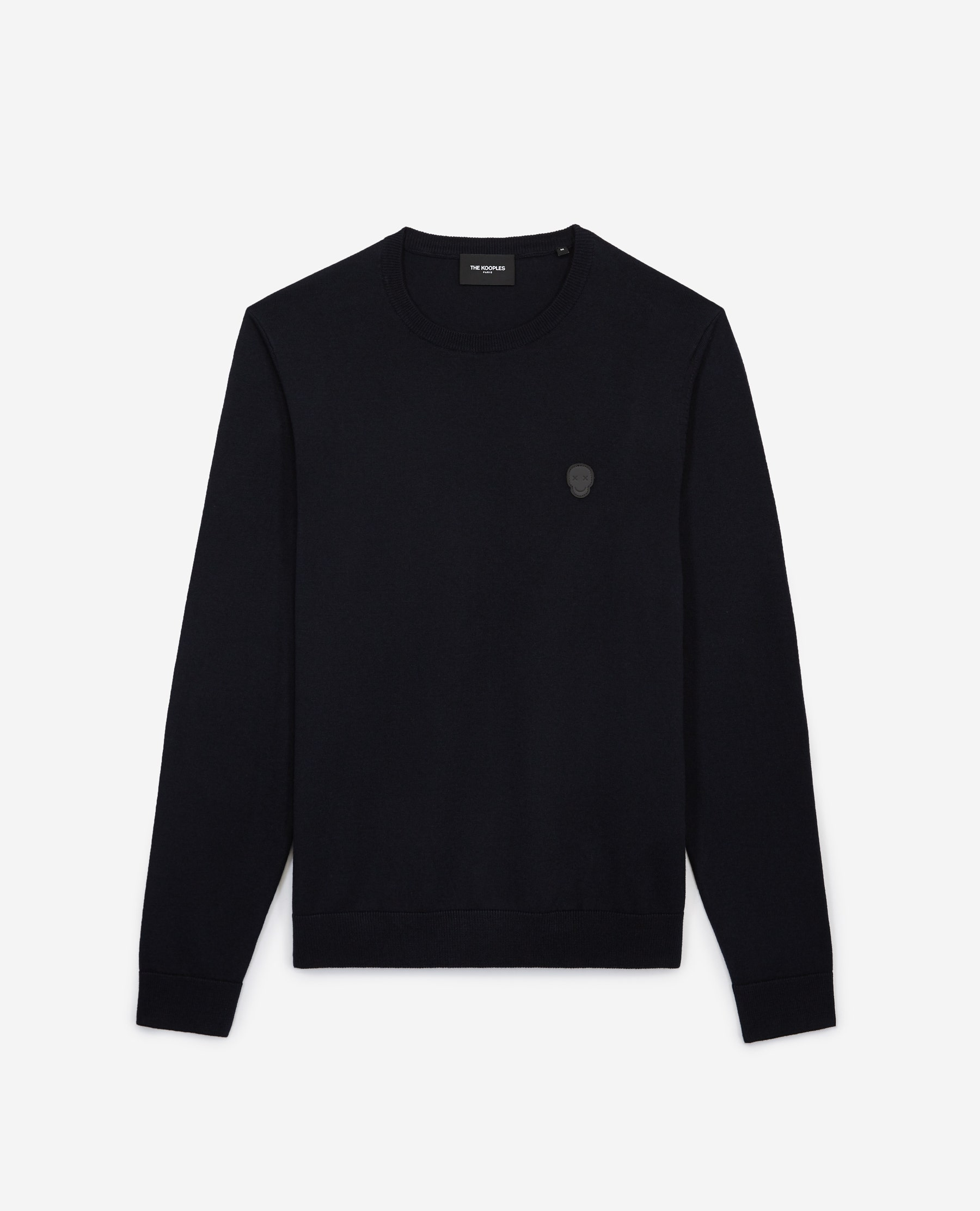 The Kooples - Blue wool sweater with crew neck & elbow pads - MEN