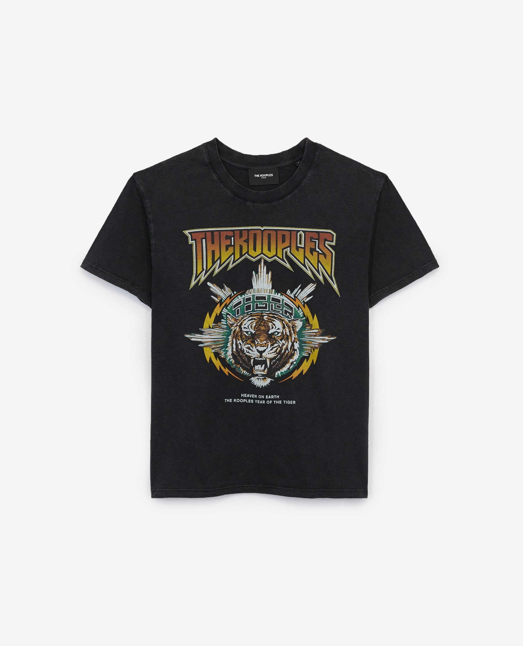 T-shirt coton rock sérigraphie tigre - The Kooples - Modalova