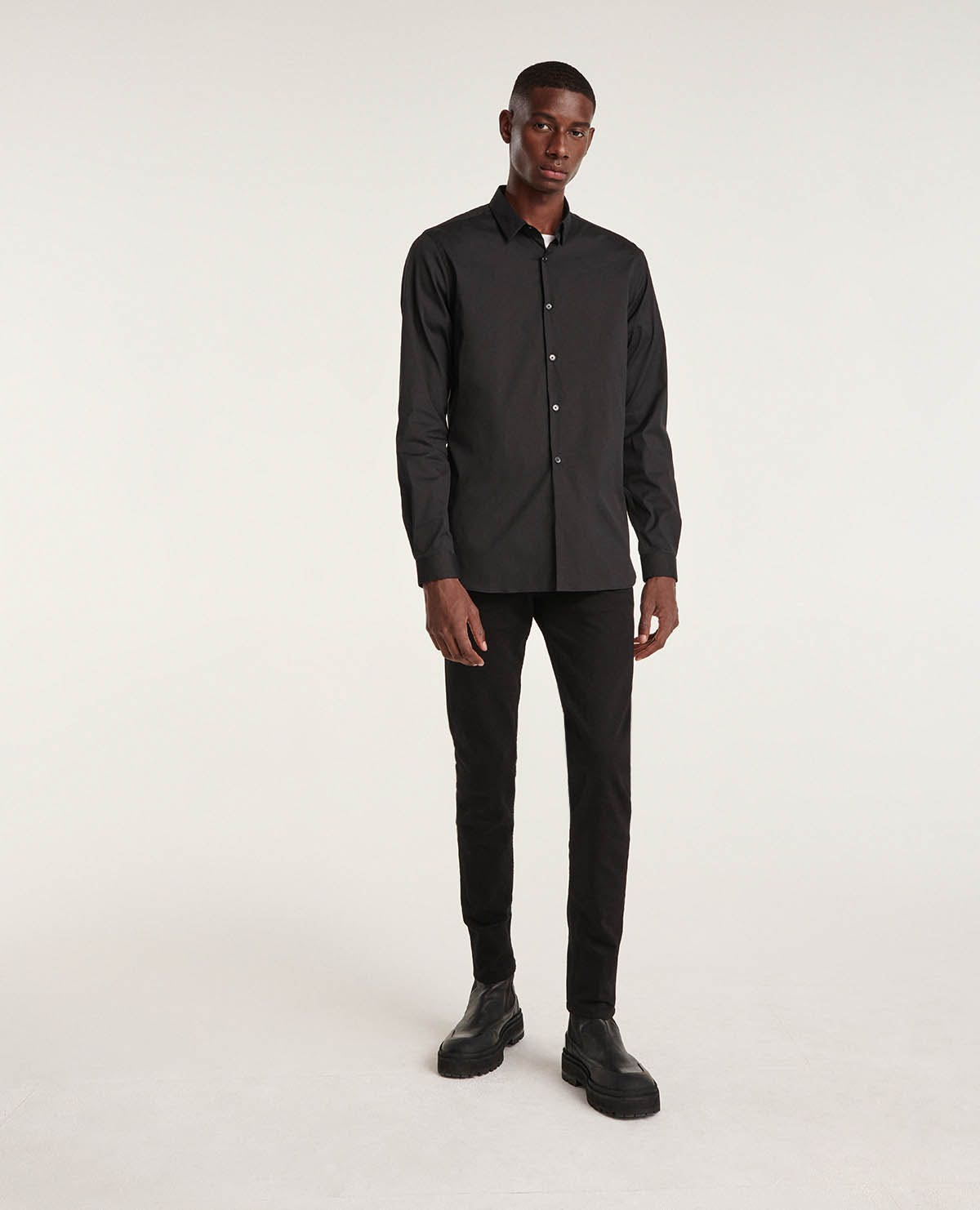 Jean uni noir slim toile coton - The Kooples - Modalova