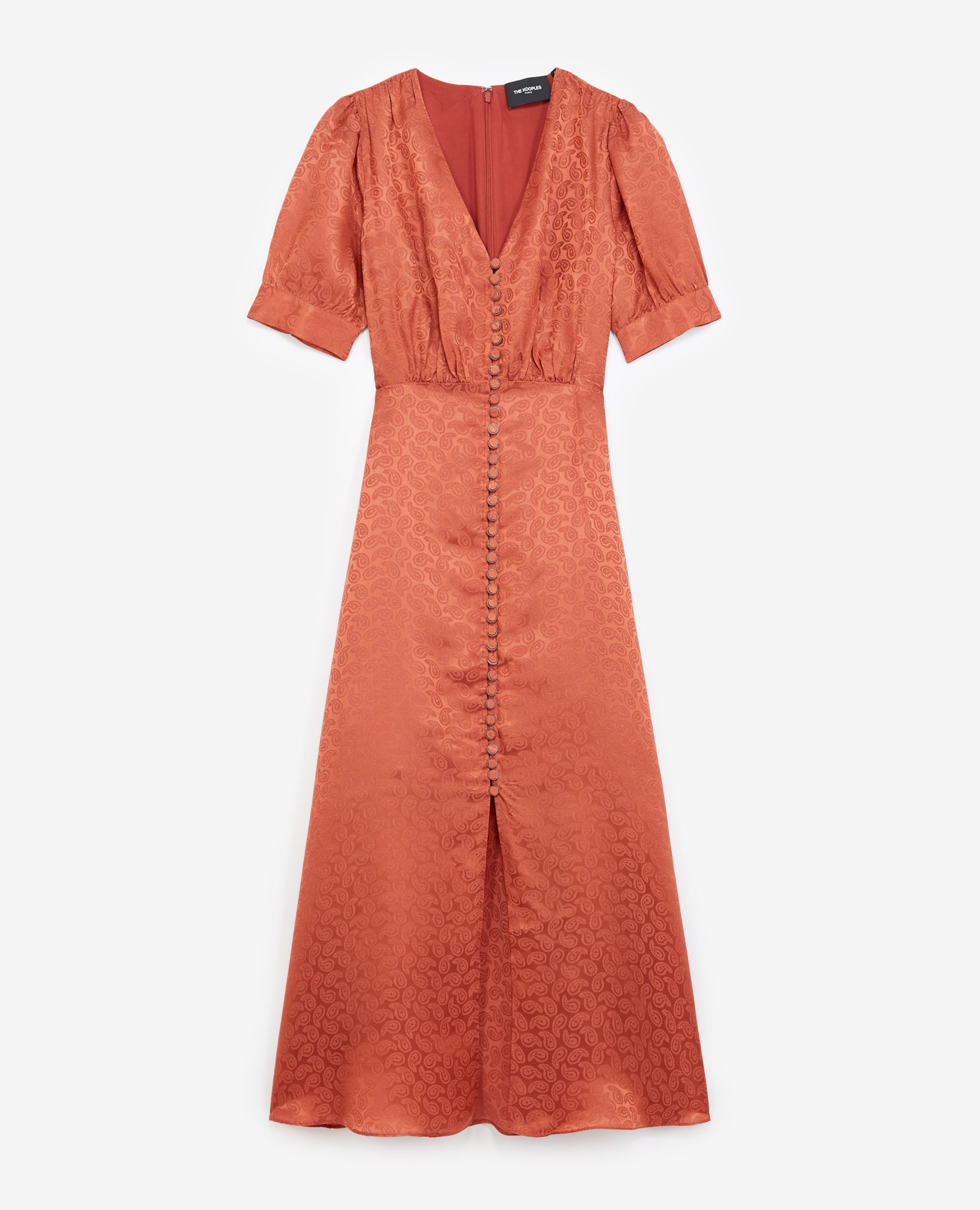 Robe longue rose jacquard boutonnée - The Kooples - Modalova