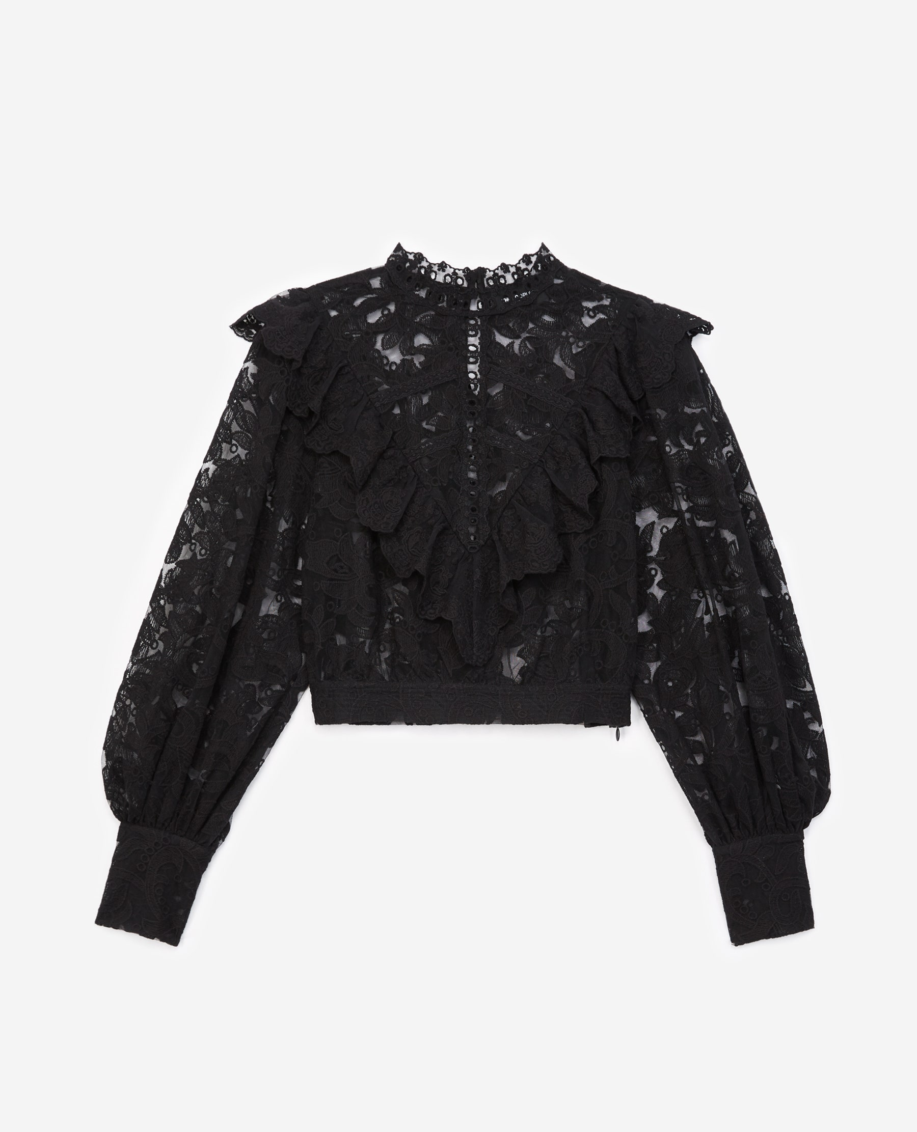The Kooples - Black lace top with panel - WOMEN