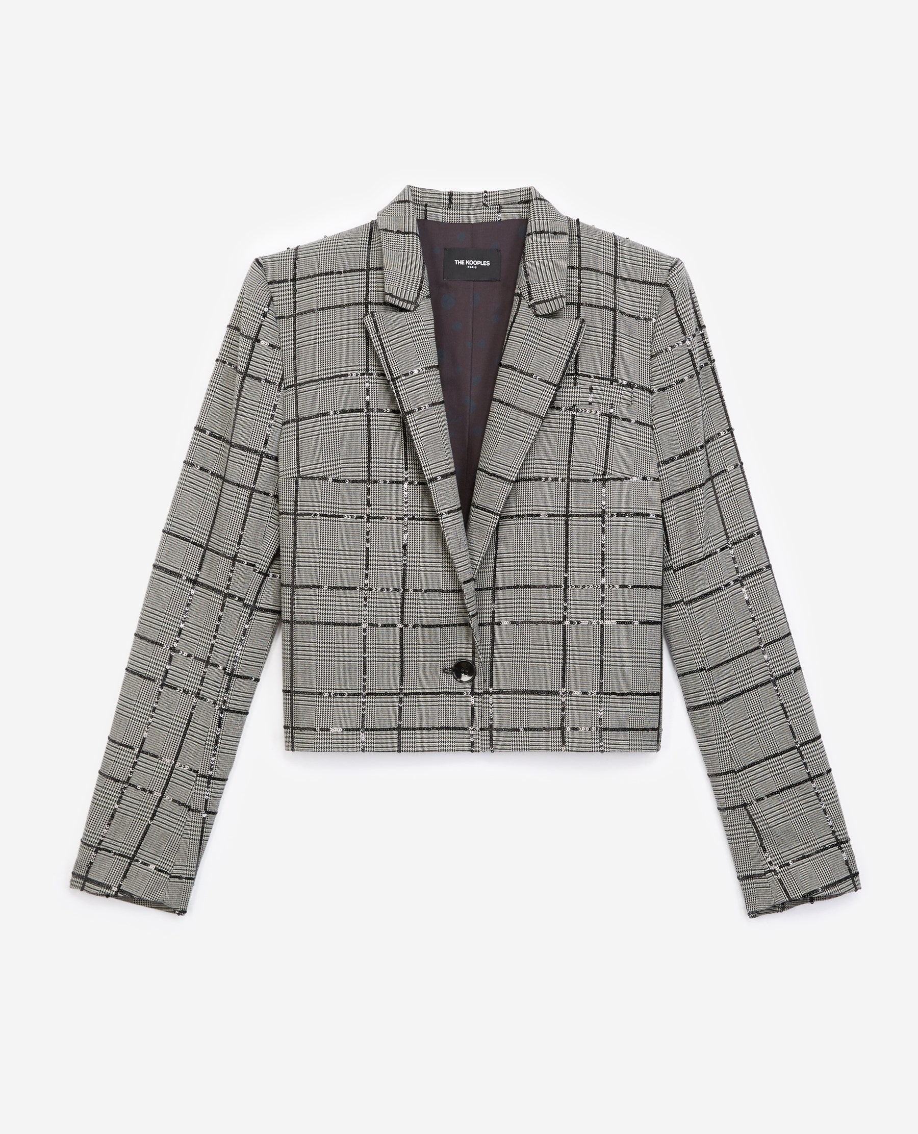 The Kooples - Grey suit jacket with check motif and sequins - WOMEN