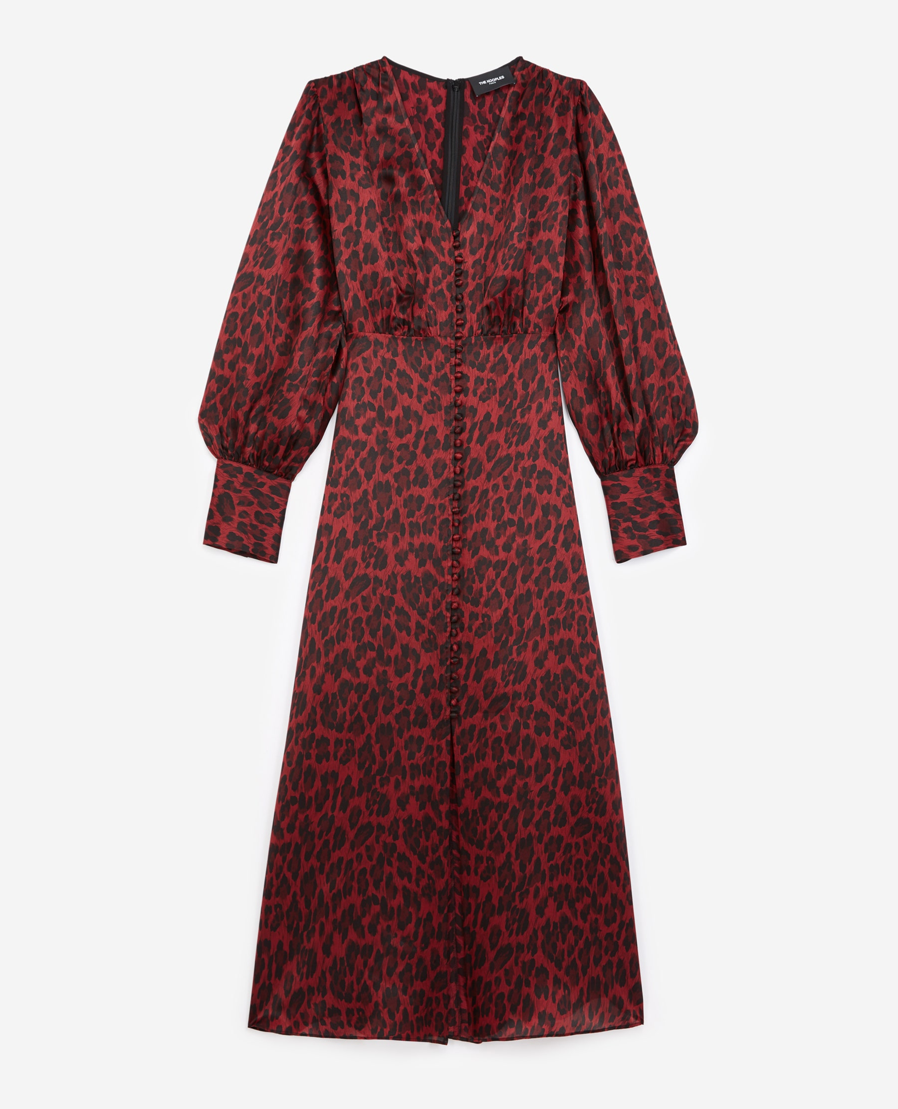 Robe longue bordeaux motif leopard - The Kooples - Modalova