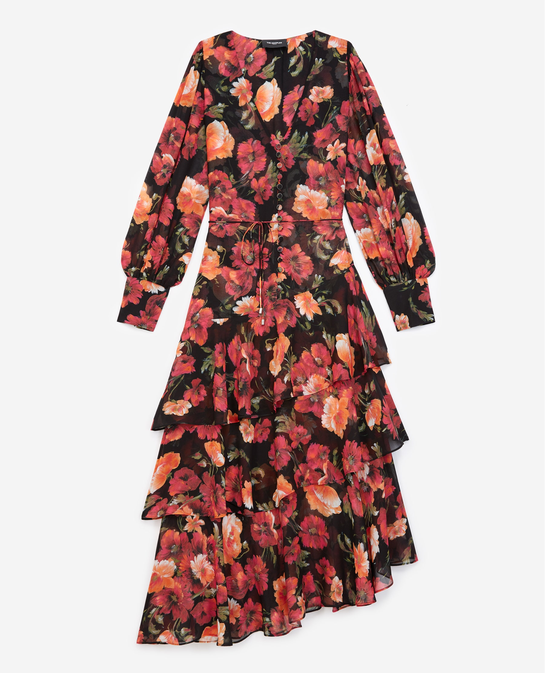 Robe longue volants à imprimé fleuri - The Kooples - Modalova