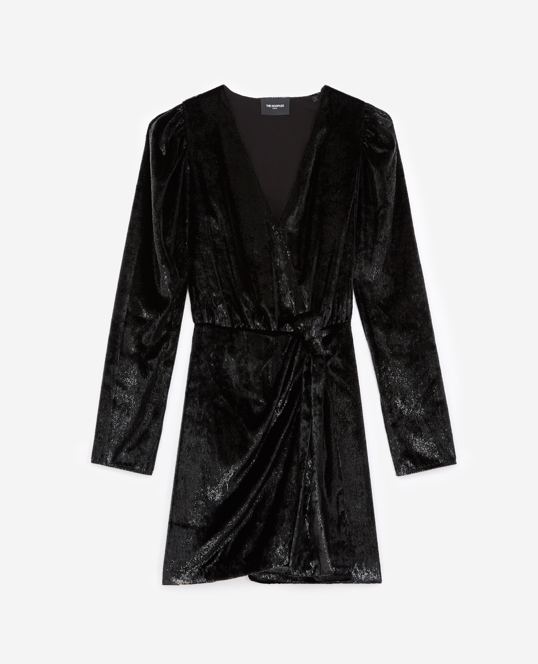 Robe portefeuille noire velours - The Kooples - Modalova