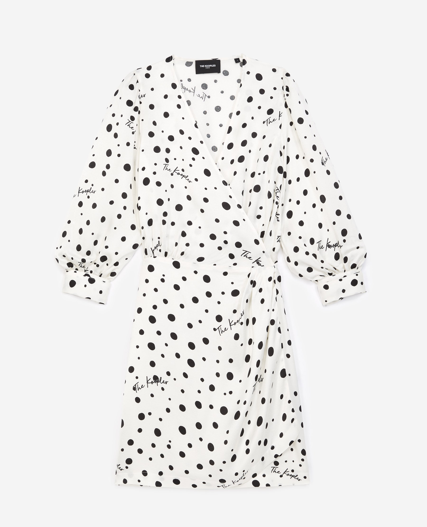 Robe portefeuille écrue à pois - The Kooples - Modalova