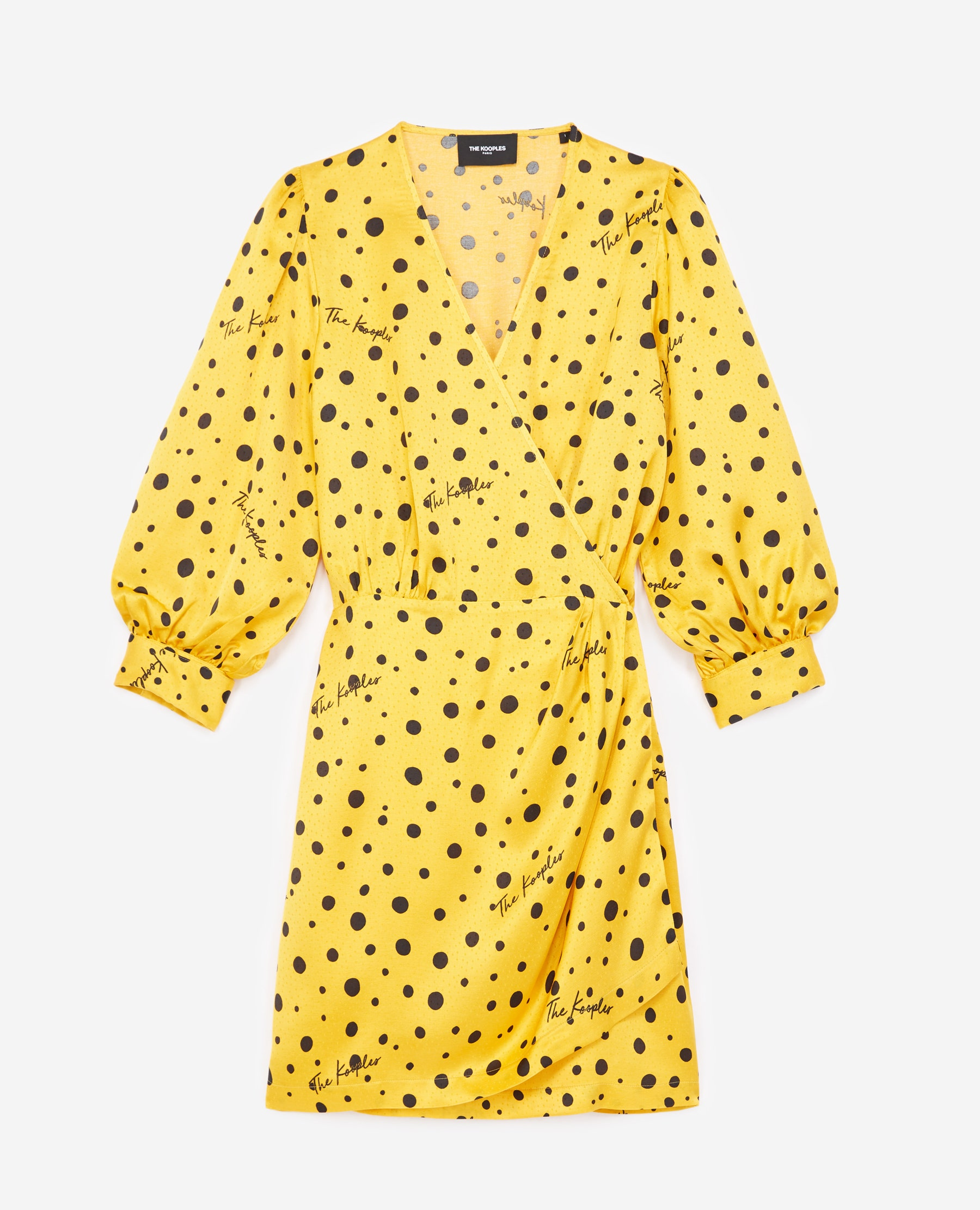 Robe portefeuille jaune à pois - The Kooples - Modalova