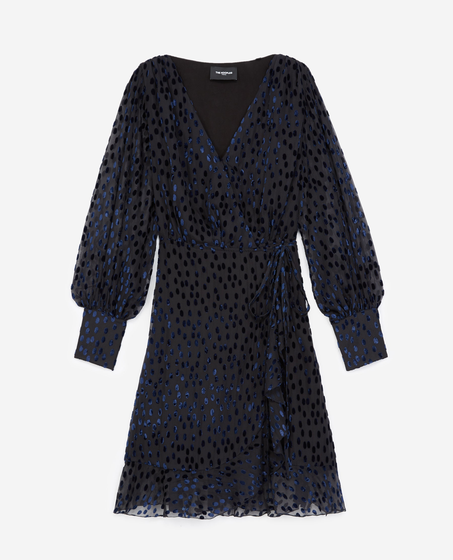 Robe portefeuille pois velours dévoré - The Kooples - Modalova