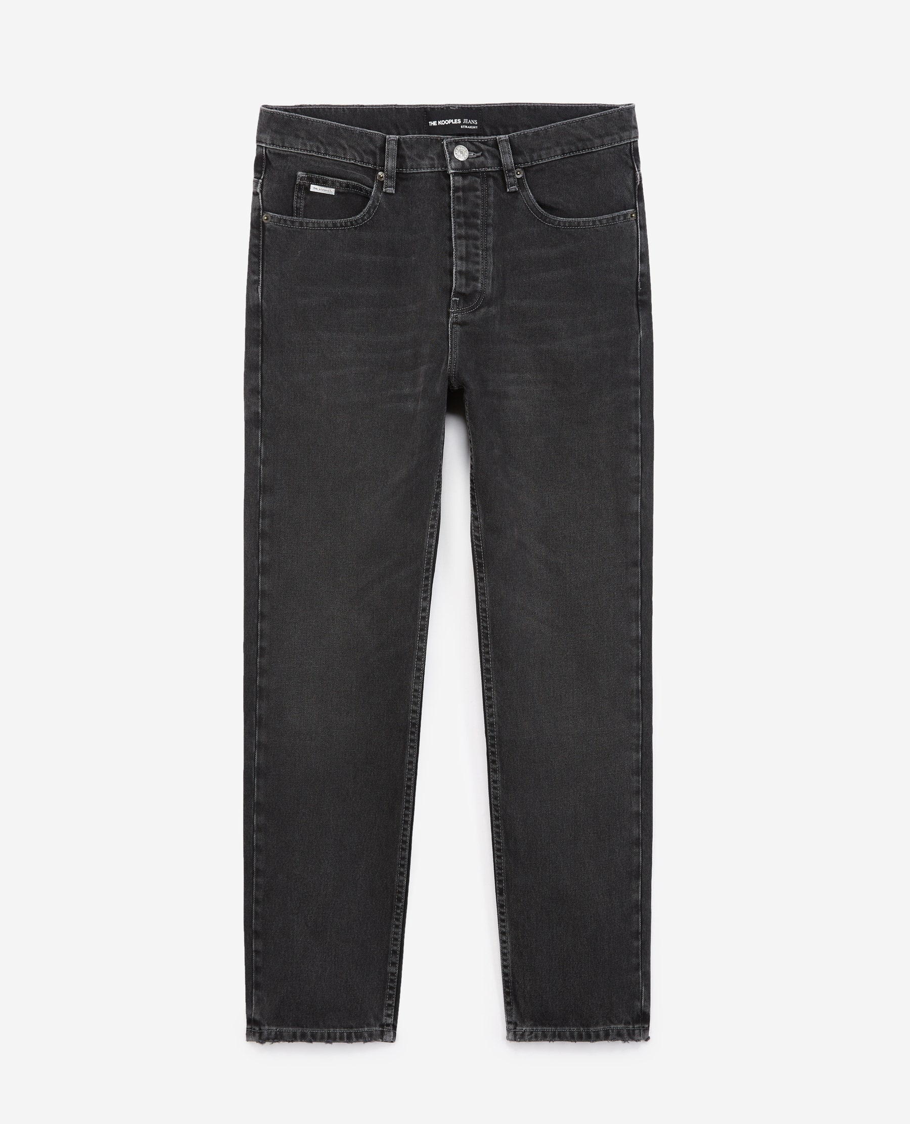 Jean noir brut droit coton stretch - The Kooples - Modalova