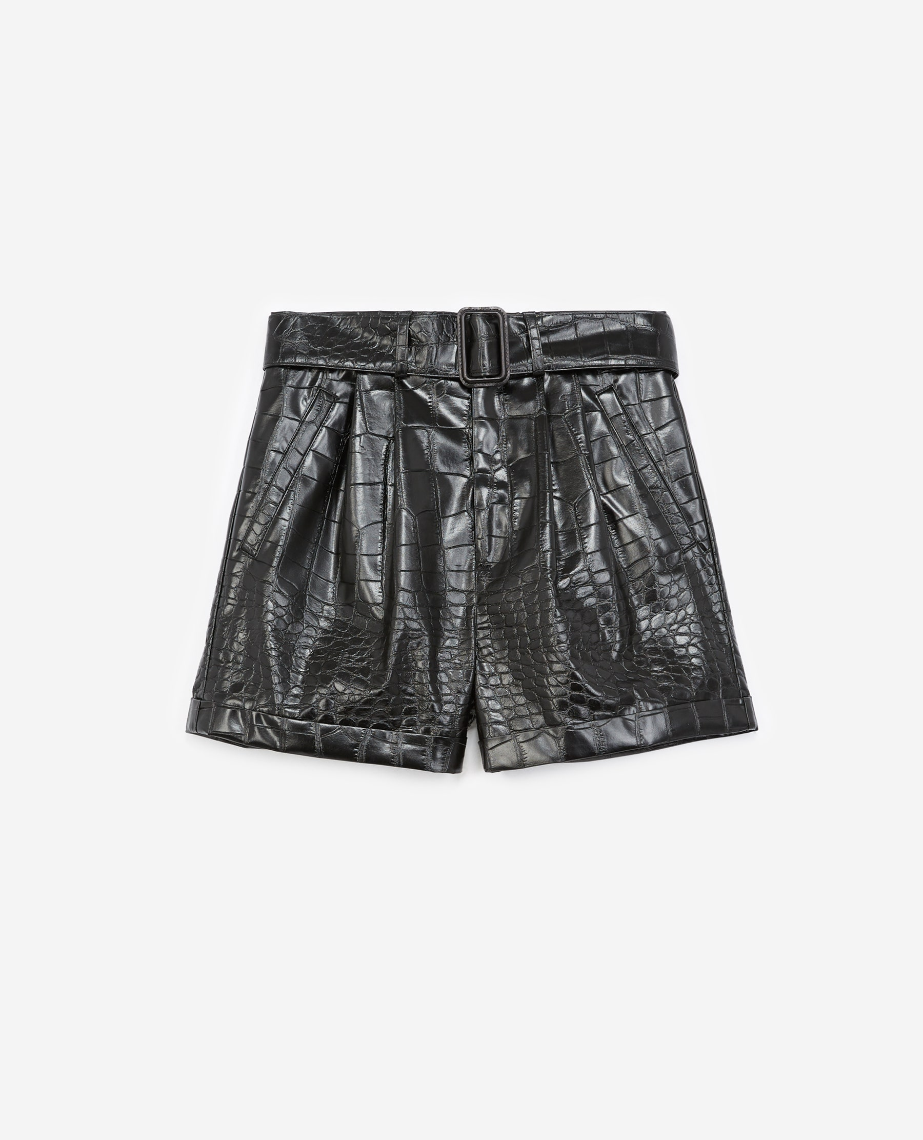 The Kooples - Black crocodile-print shorts with belt - WOMEN