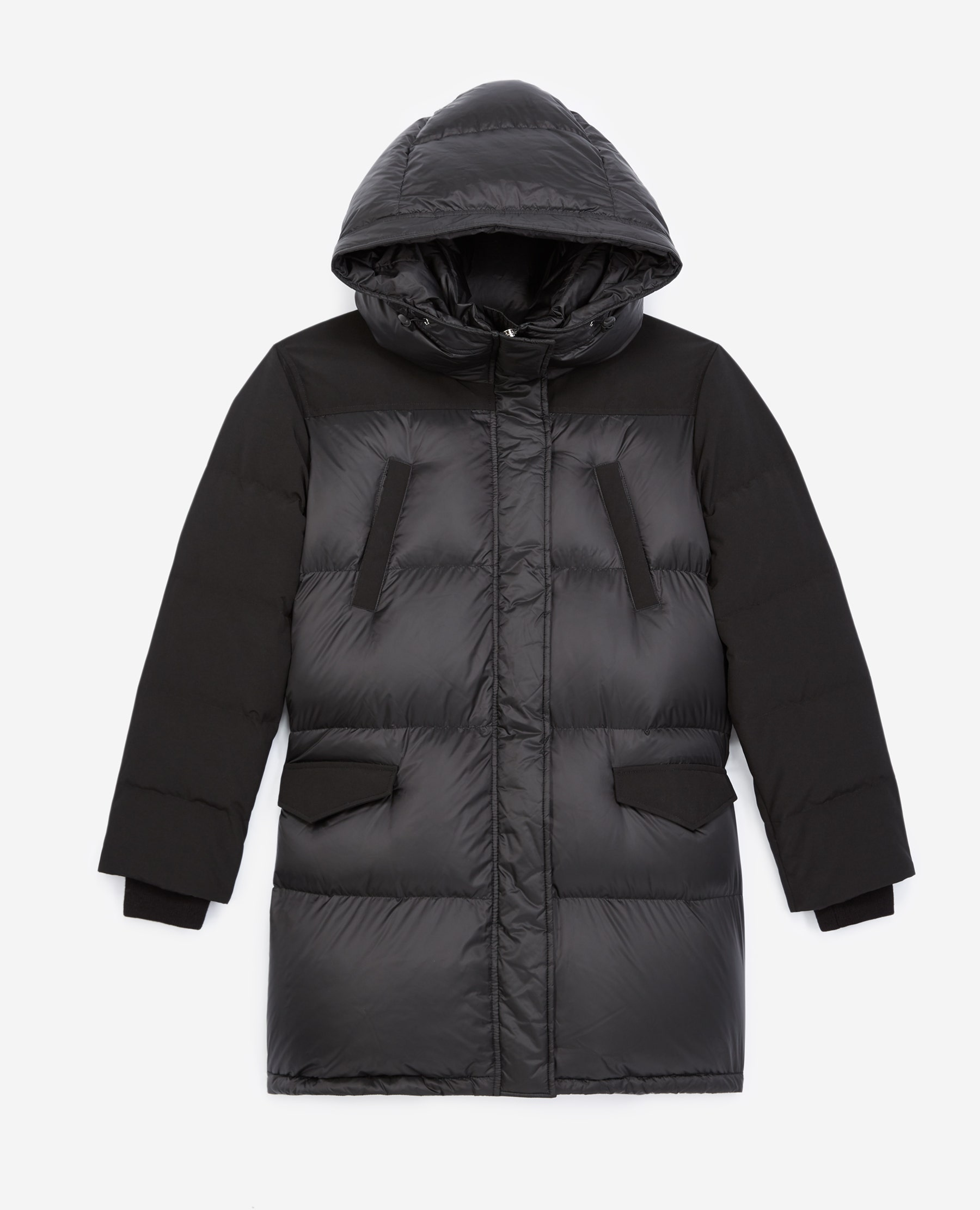 The Kooples - Black dual-material down jacket with hood - WOMEN