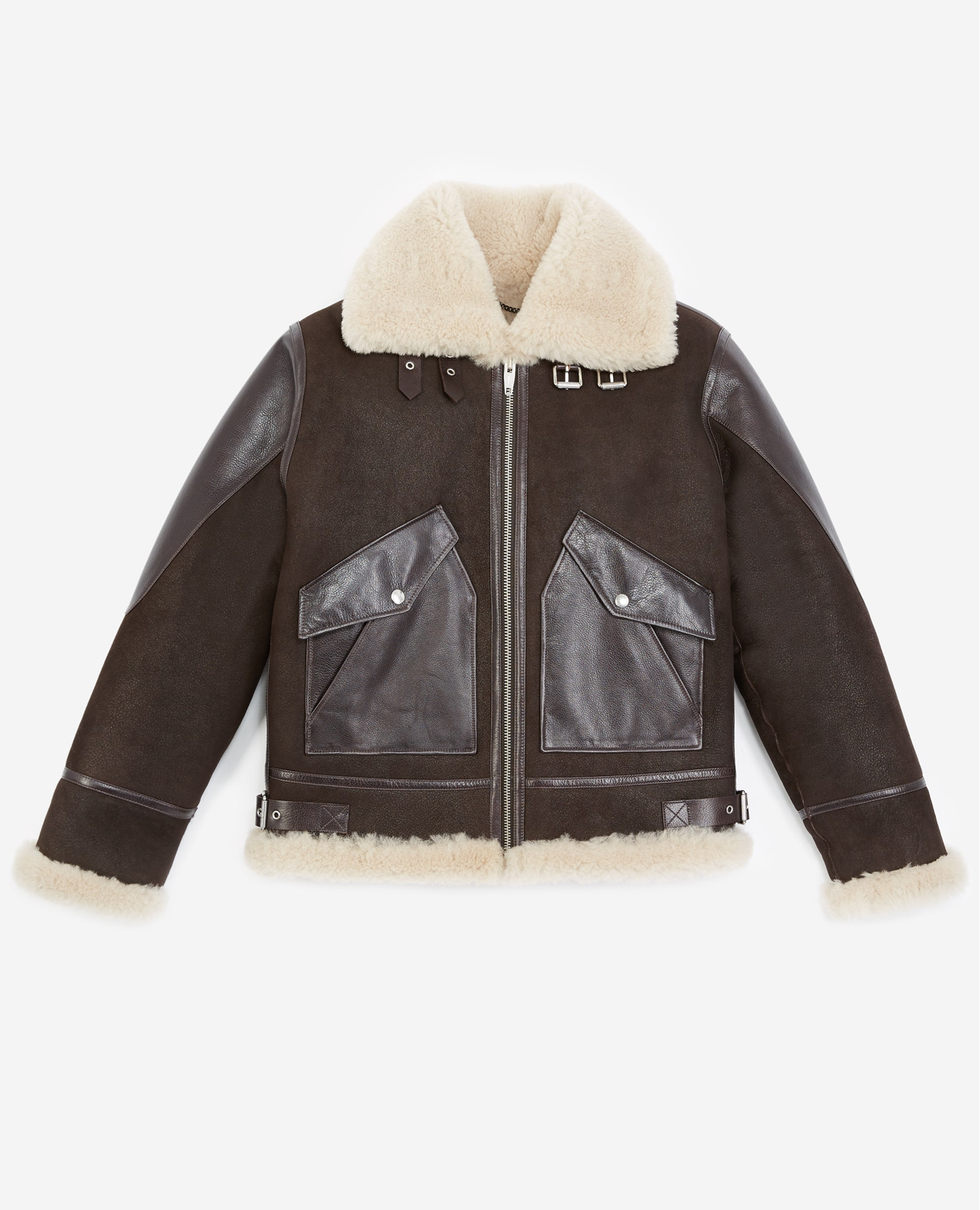 Blouson cuir retourné marron col mouton - The Kooples - Modalova