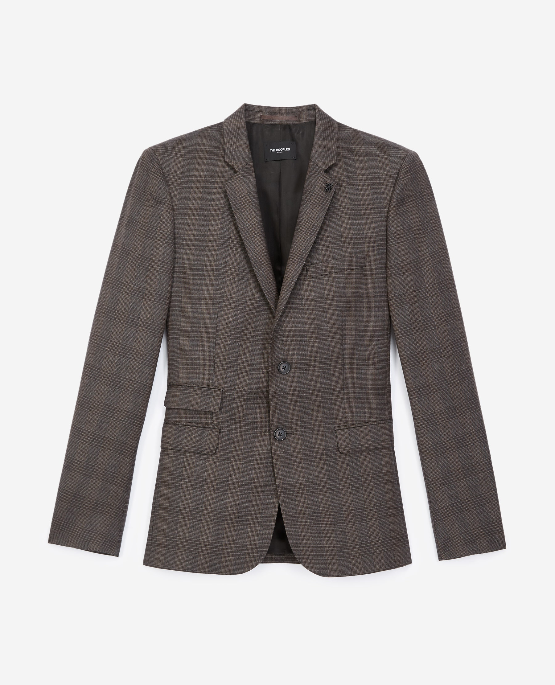 Veste laine grise à carreaux - The Kooples - Modalova