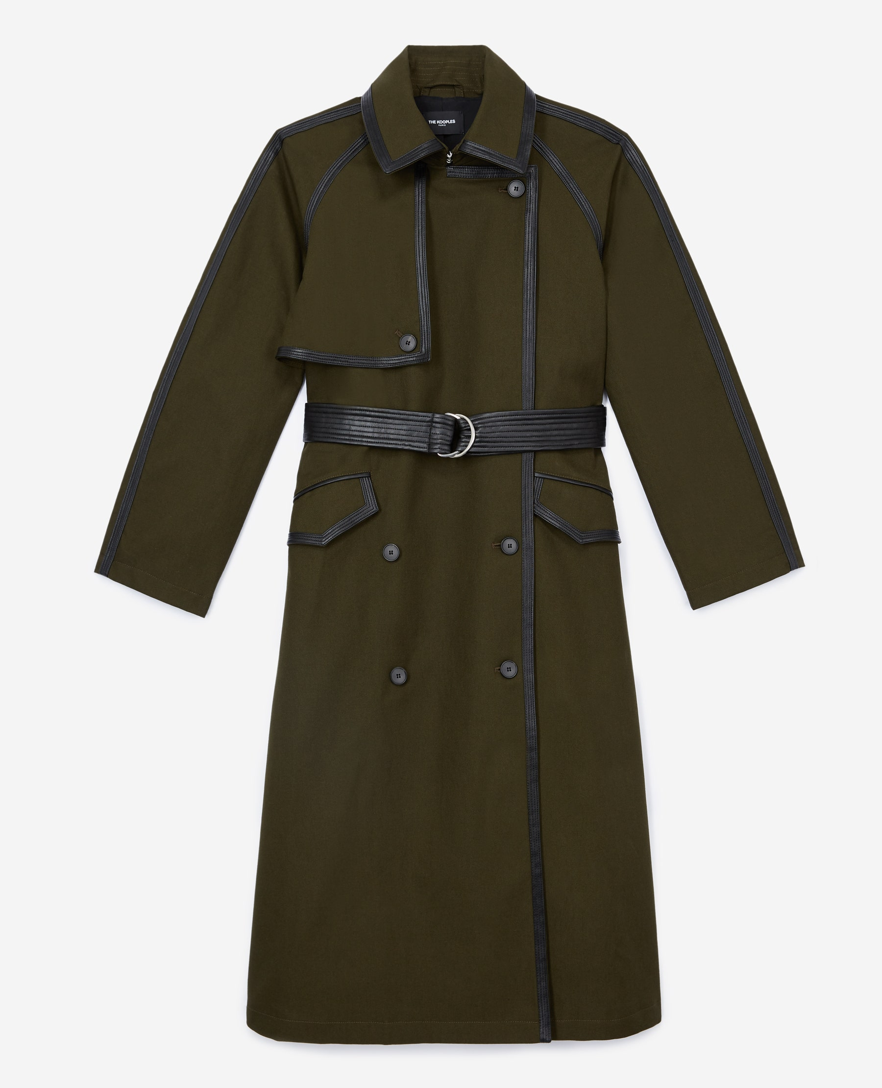 The Kooples - Khaki cotton trench coat with leather belt - WOMEN