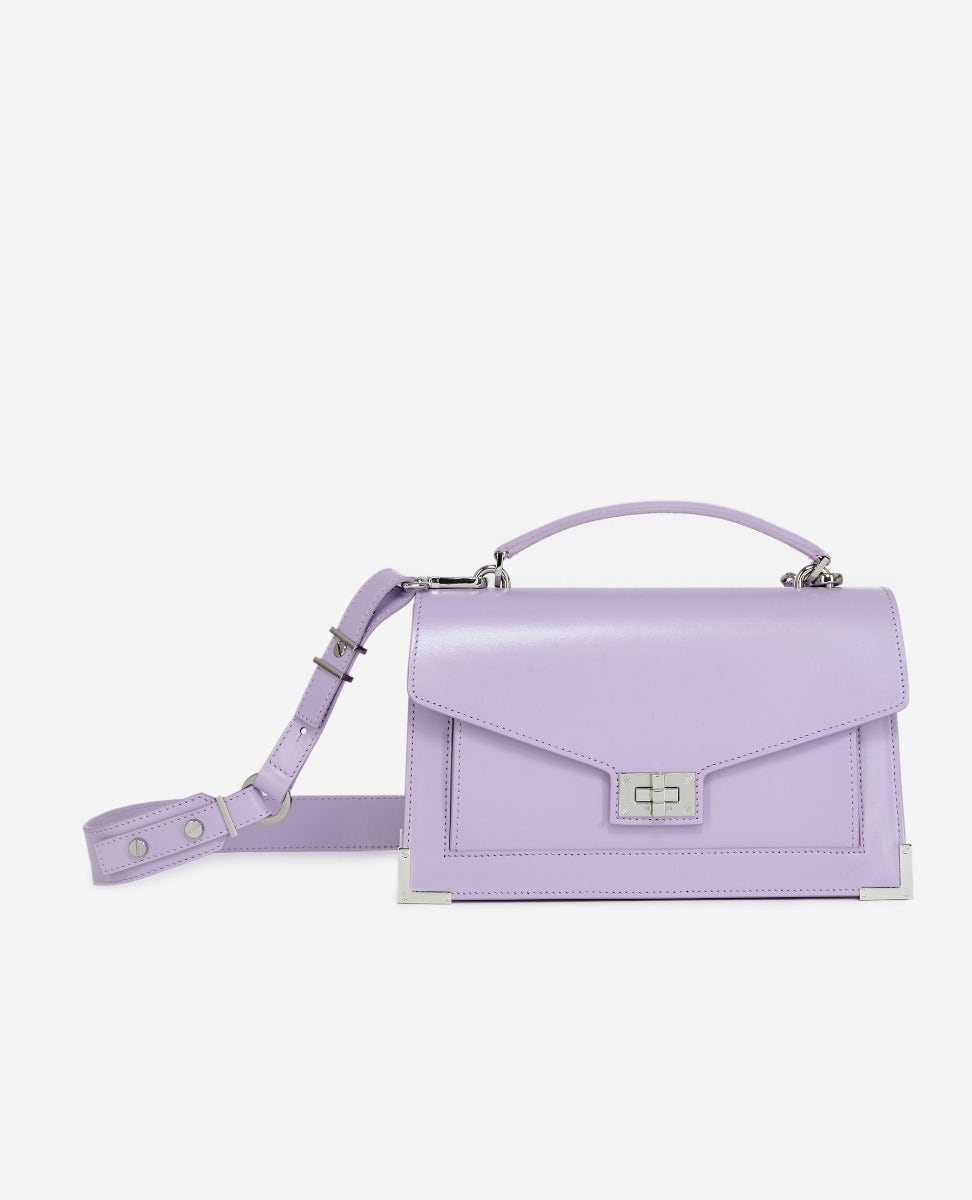 The Kooples - Medium Emily bag in smooth lilac leather - WOMEN