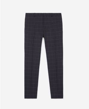 Slim-fitting navy blue wool suit trousers