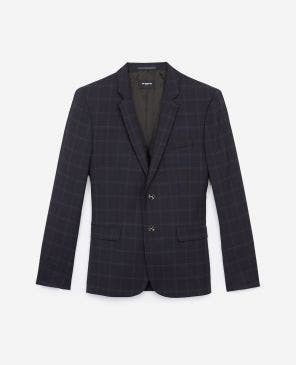 Formal blue wool jacket with grey check motif