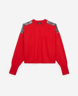 Red cashmere sweater with chain mail detail