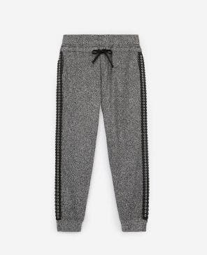 Gray fleece joggers with lace trims