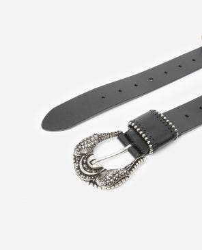 Black women's leather belt with large buckle