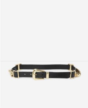 Black leather belt with golden buckle