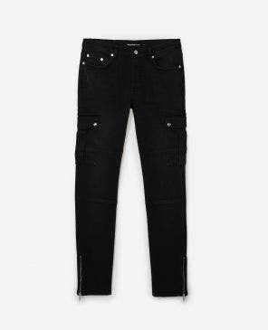 Skinny vintage black jeans with zipped bottom