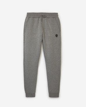 Skinny heather gray joggers w/leather badge