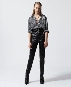 Belted leather-effect flowing black pants