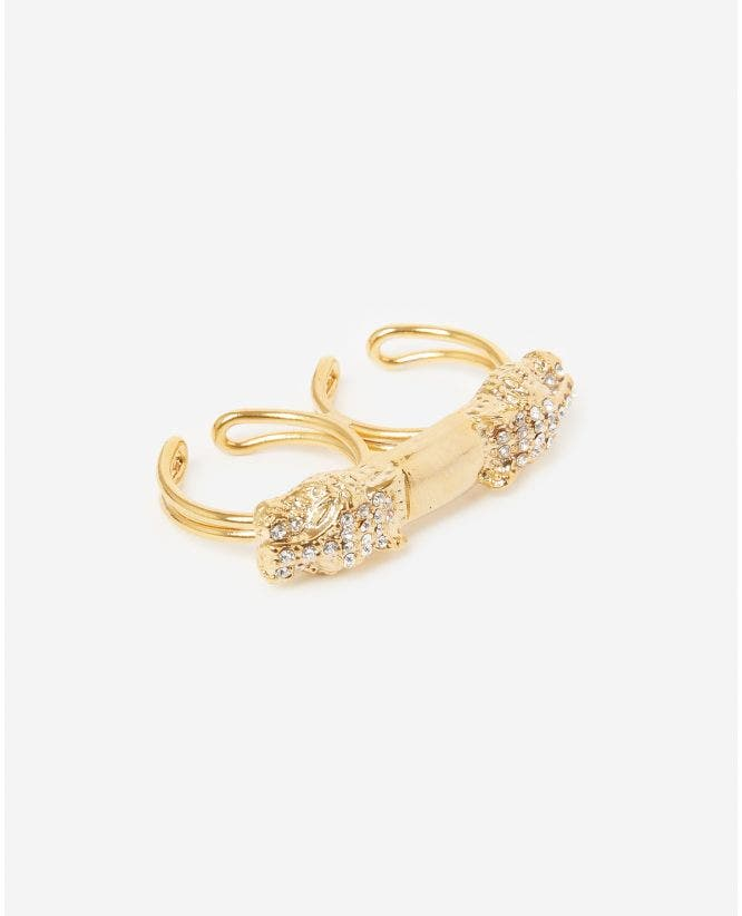Brass golden double ring with leopard heads