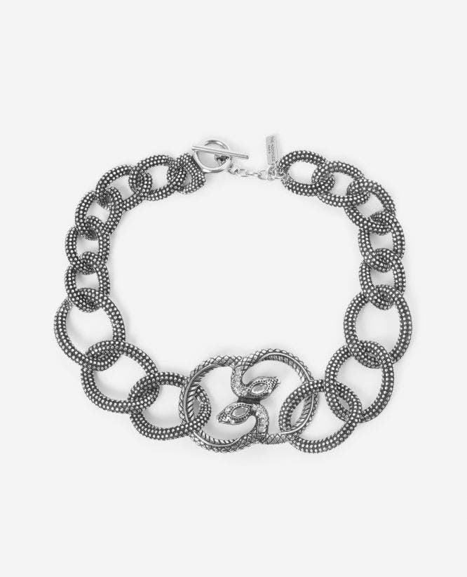 Silver necklace with double snake head