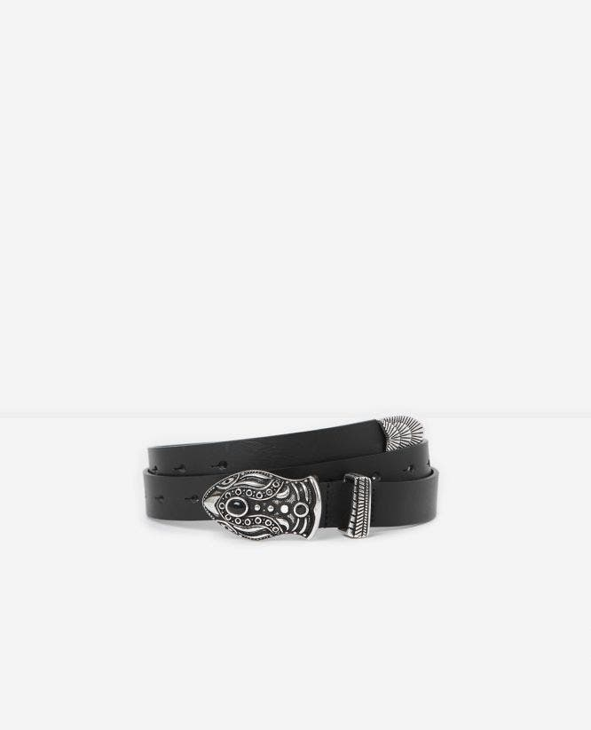 Black women's leather belt with snake buckle