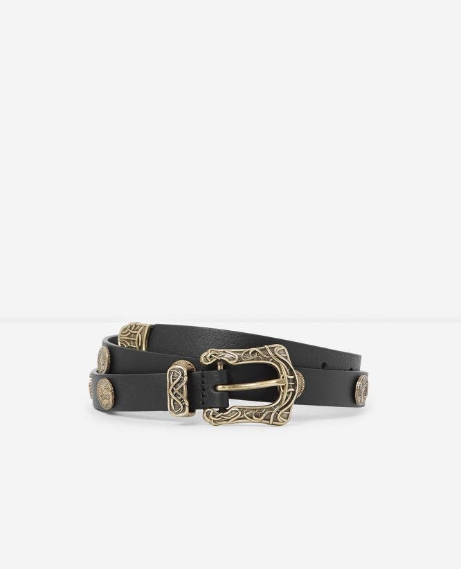 Black thin leather belt golden buckle