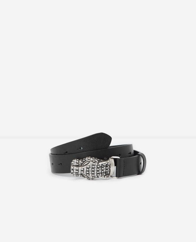 Large belt with leopard buckle