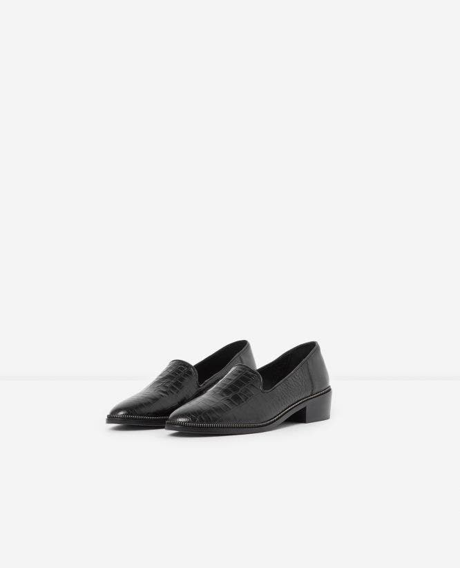 Zipped black crocodile-print leather moccasins