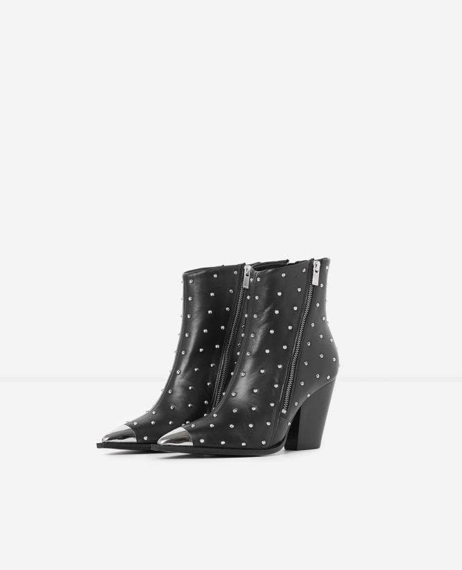 Black leather ankle boots with metal toe