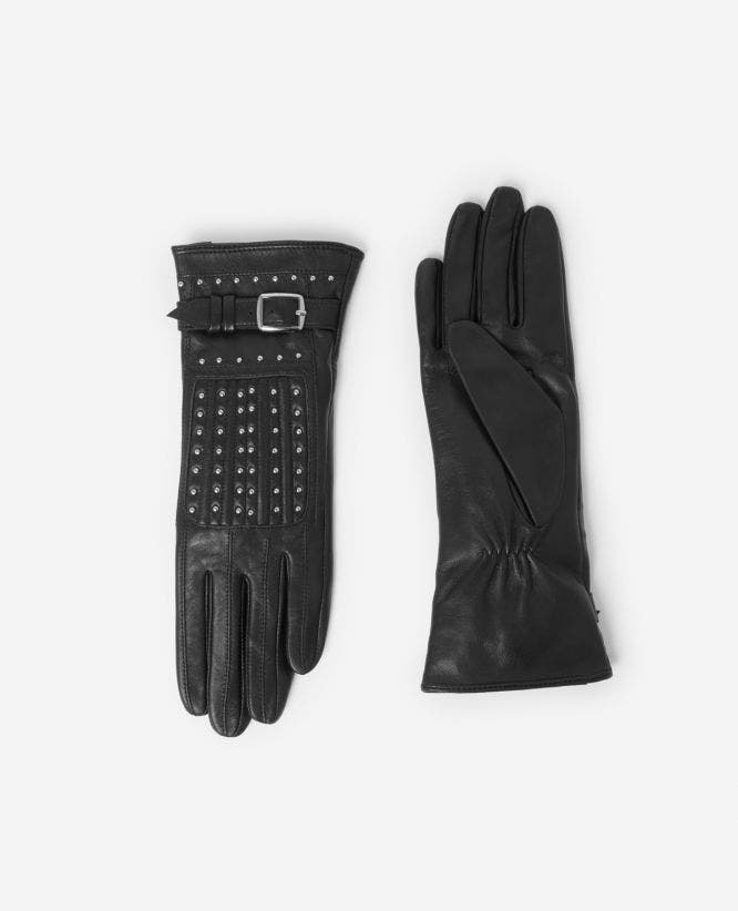 Black leather buckle gloves with studs