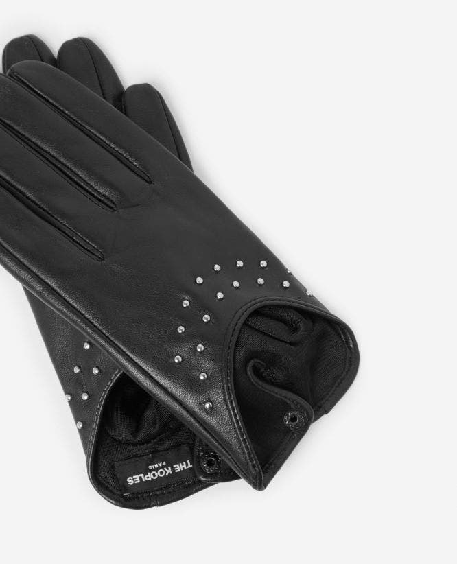 Black leather gloves with stud details