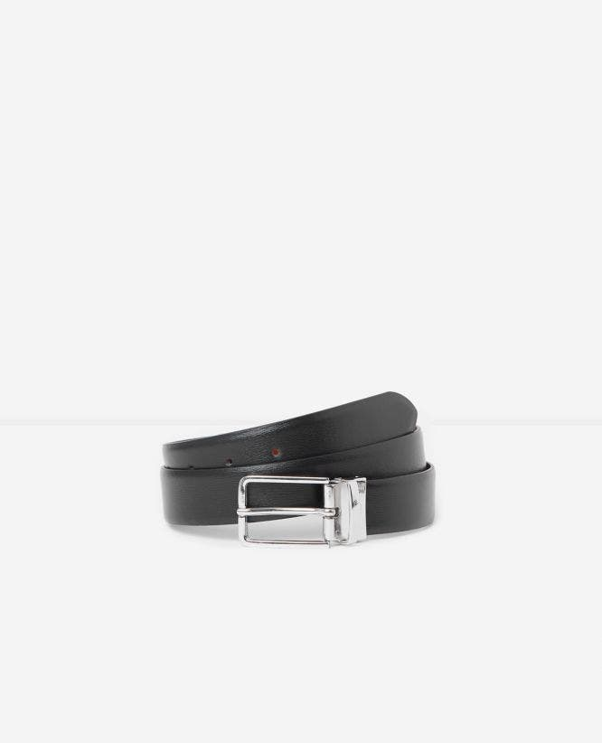 Black brown reversible two-tone leather belt