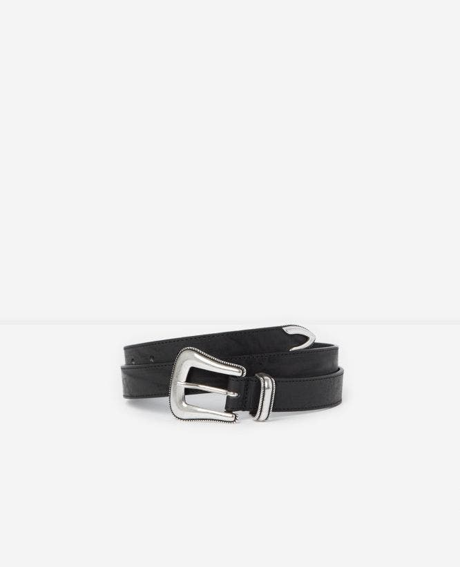 Western-style black leather belt