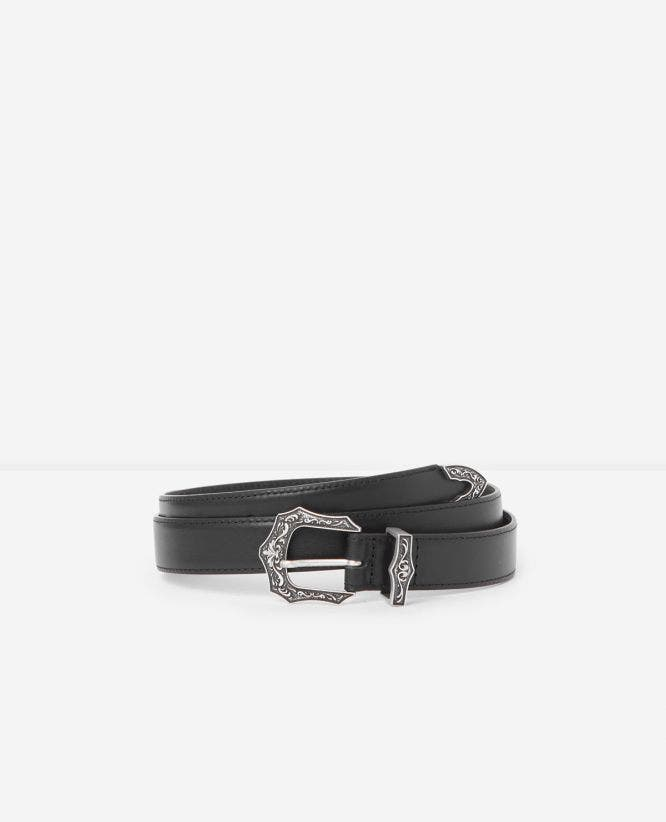 Black leather belt with Western buckle