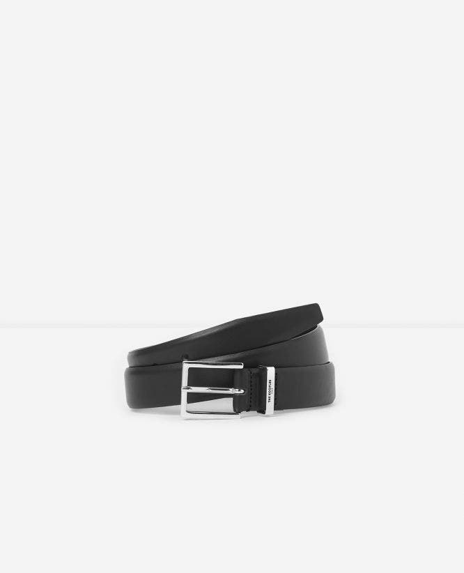 Black leather belt with buckle, loop and logo