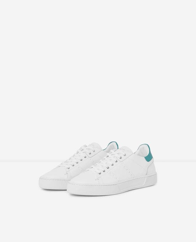 White leather low-top trainers green insert