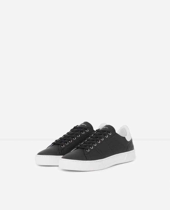 Black leather trainers contrasting insert