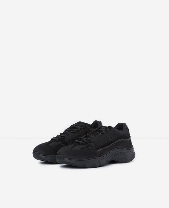 Black fabric trainers with chunky soles