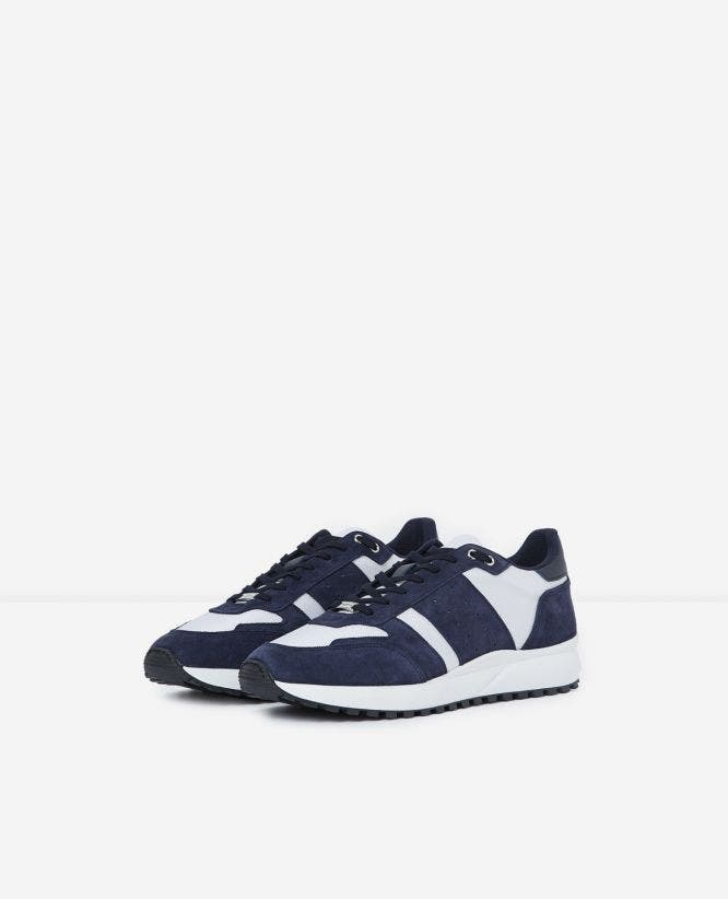 Leather mesh blue and white retro trainers