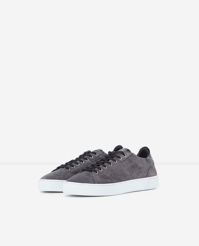 Grey suede trainers with chunky sole