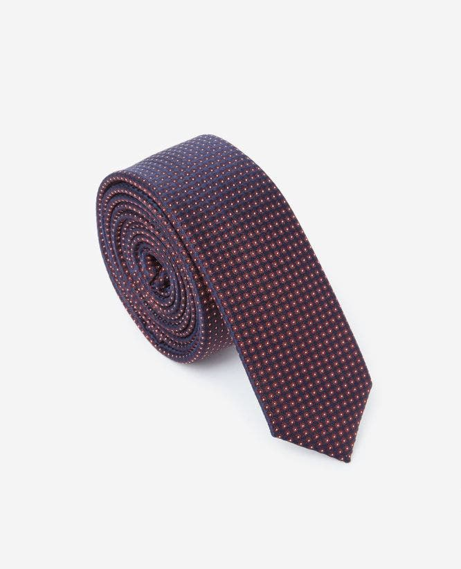 Midnight blue silk tie with burgundy motif